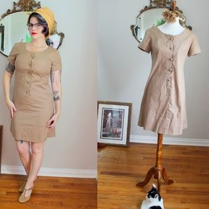 1960's Tan Button Up Sheath Polly Dress